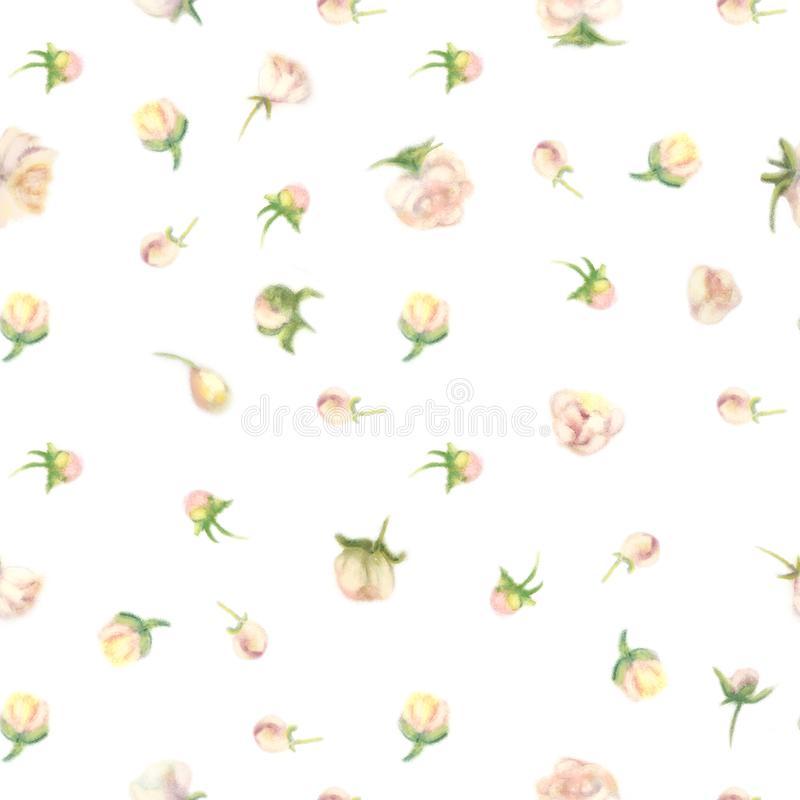 Fuzzy aquarelle flower seamless wallpaper vector illustration