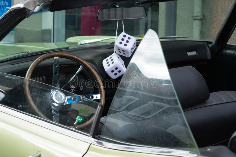 Fuzzy Dice on the rearview mirror royalty free stock image