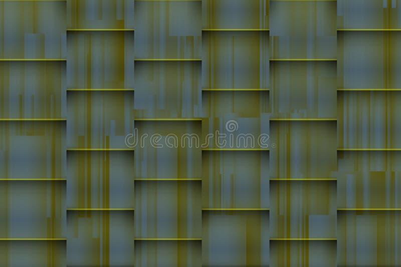 Fuzzy greenish background with architectonic 3d shadows stock image