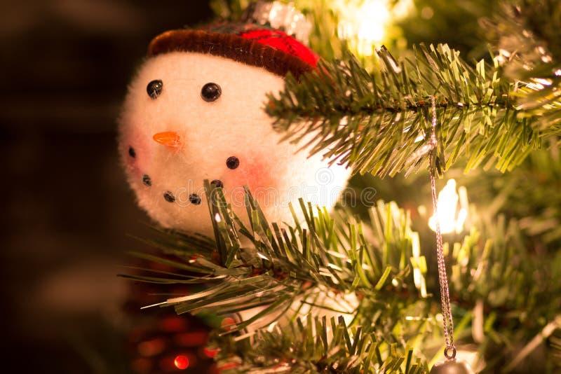 Fuzzy Snowman Ornament arkivfoton