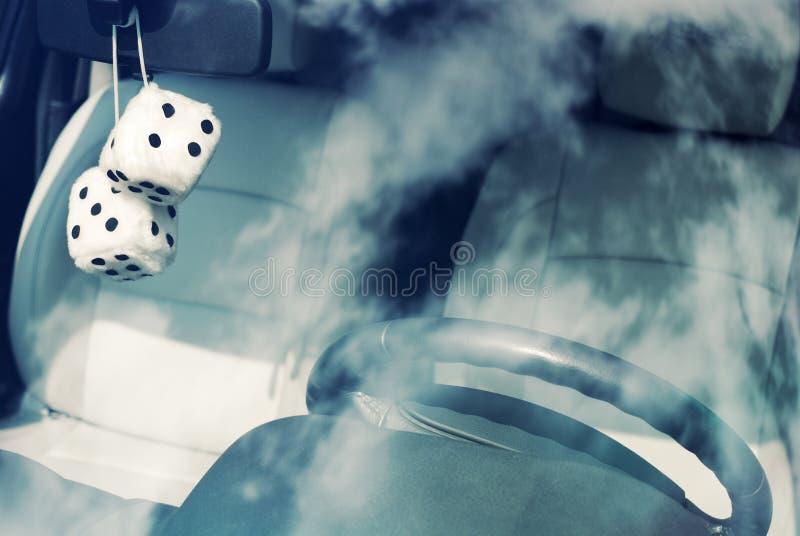Fuzzy white dice stock image