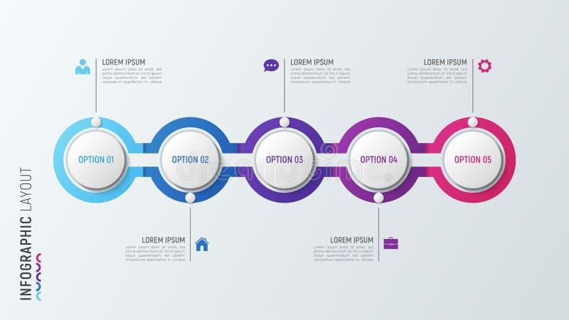 Fve跨步infographic工艺卡片 5个选择传染媒介模板 向量例证