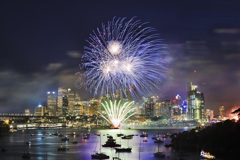 FW16 Wavert Blue Ball CBD. Sydney city CBD at New Year eve Fireworks over still water of Harbour. Blue light ball illuminate towers and landmarks of the city stock photo