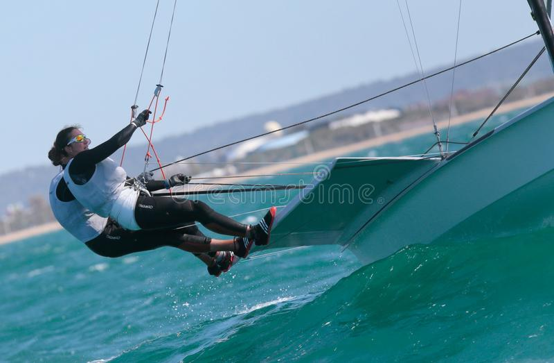 FX class sailing during regatta in palma de mallorca crew detail royalty free stock image