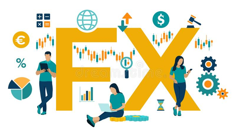 FX. Foreign Exchange Market. Global financial market. Stock Exchange. Forex Banking. Financial management and financial data. Analysis. Business team. Vector vector illustration