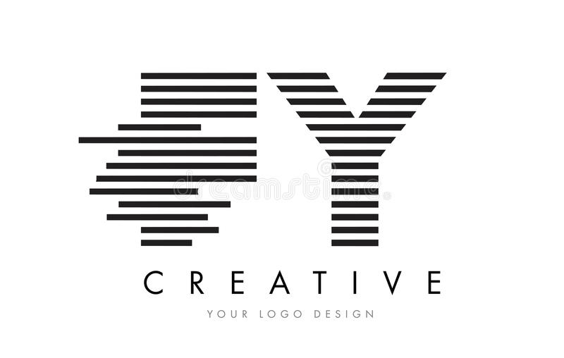 FY F Y Zebra Letter Logo Design with Black and White Stripes royalty free illustration