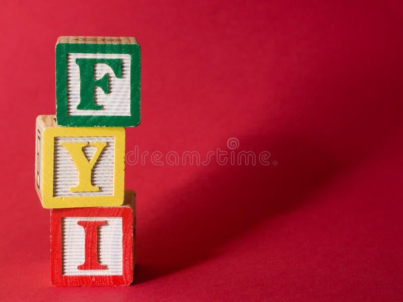 FYI-Informationen stockfotos