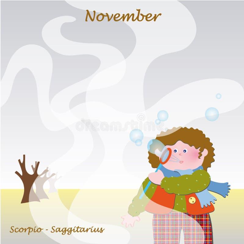 fyll på base kalenderdagar november till royaltyfri illustrationer