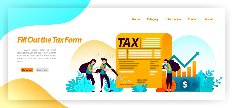 Fyll ut formen för betalning för skatträkningen rapportårsinkomst, affär, äganderätt av finansiella tillgångar vektorillustration royaltyfri illustrationer