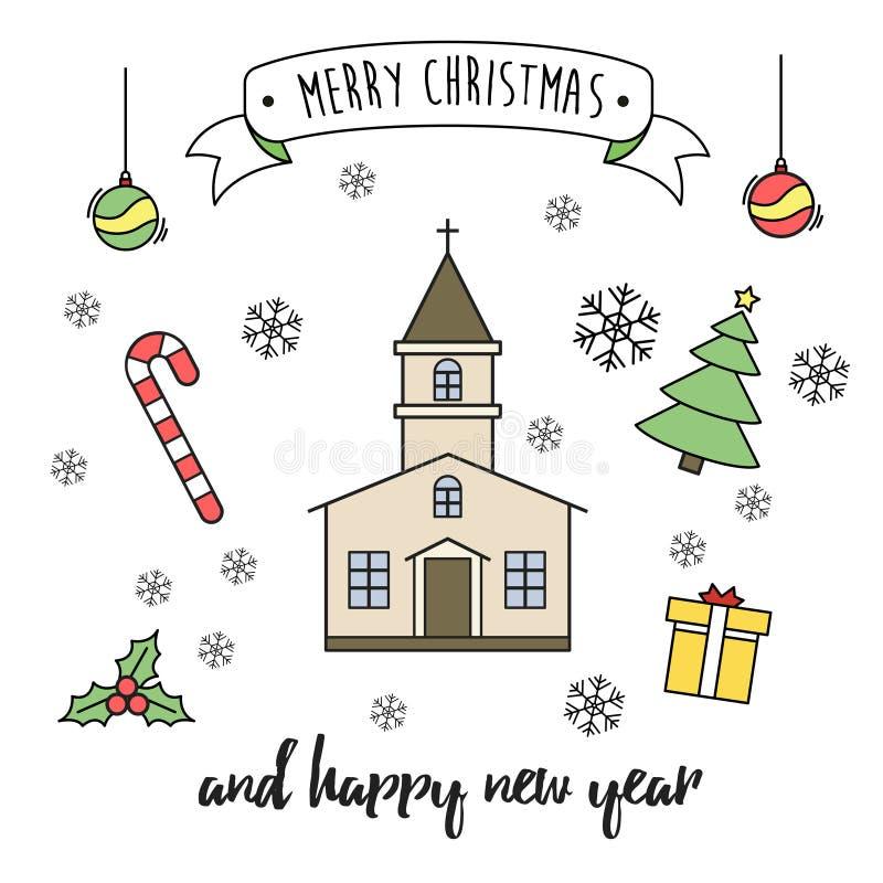 Fylld översiktsstil för glad jul och för hälsningkort för lyckligt nytt år royaltyfri fotografi
