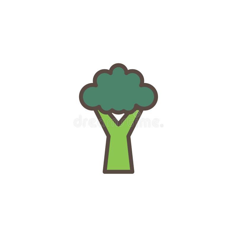 Fylld översiktssymbol för broccoli grönsak royaltyfri illustrationer