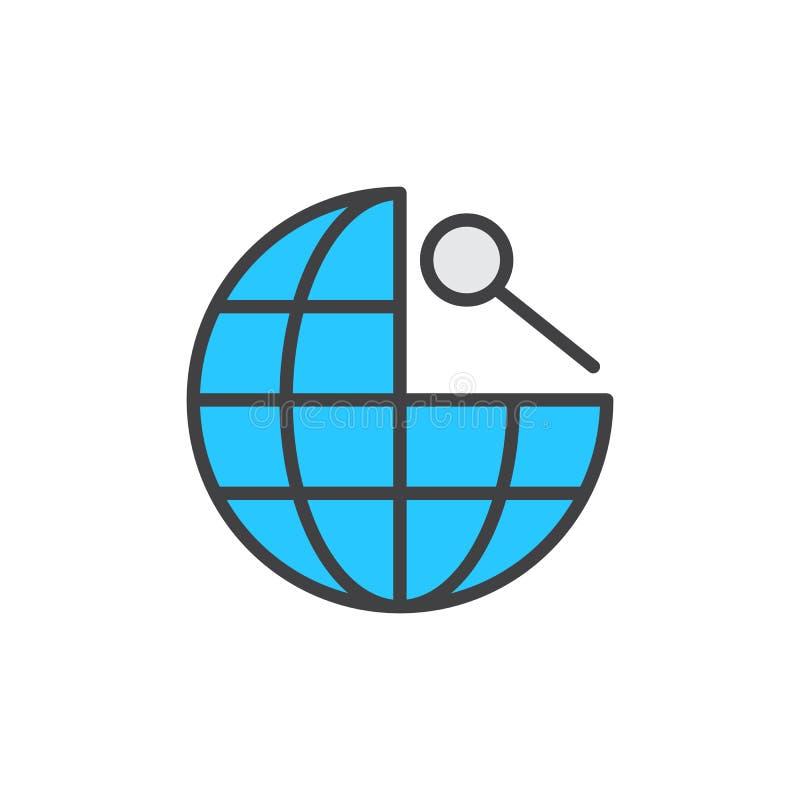 Fylld översiktssymbol för sökande global navigering royaltyfri illustrationer
