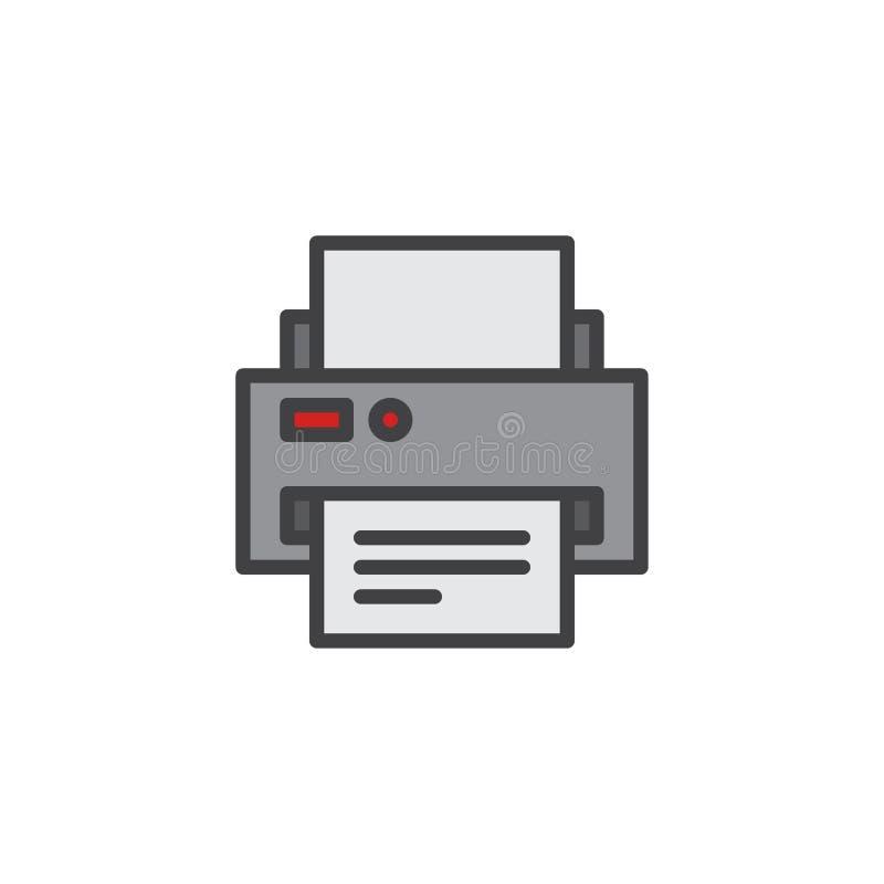 Fylld översiktssymbol för skrivare och för pappers- dokument stock illustrationer