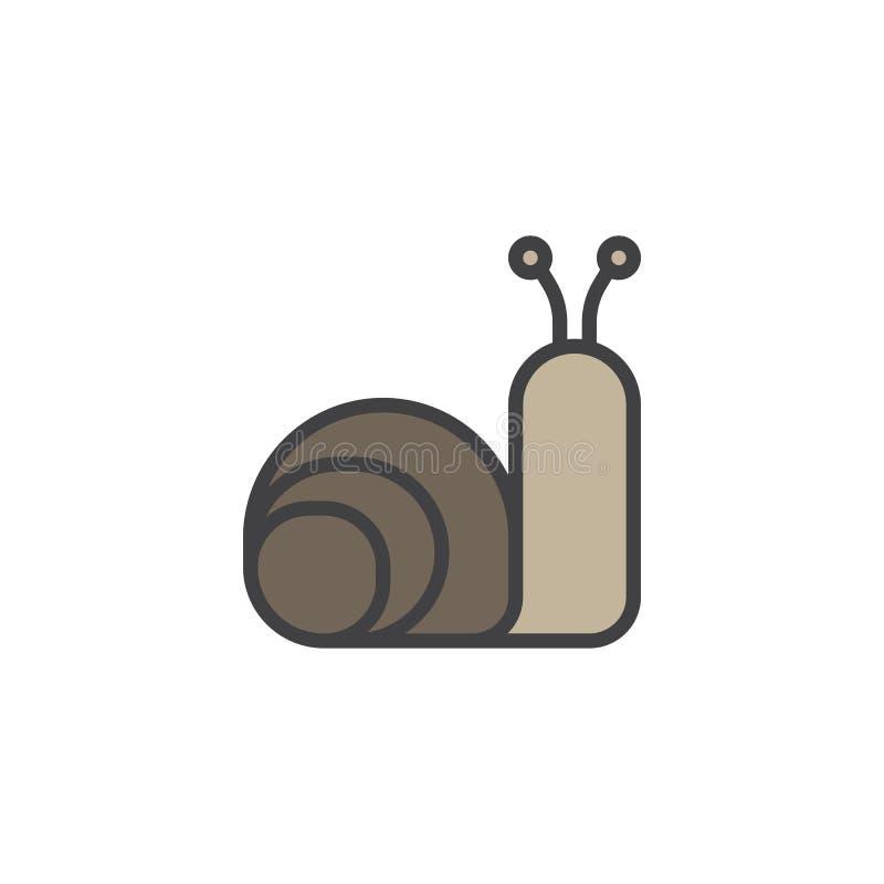 Fylld översiktssymbol för snigel djur royaltyfri illustrationer