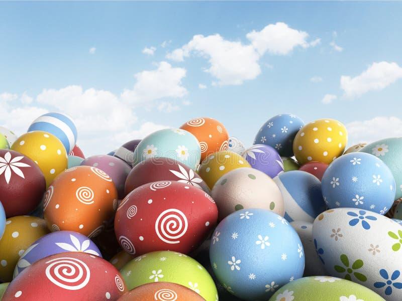 Fyllda färgrika ägg 3D för påsk bakgrund vektor illustrationer