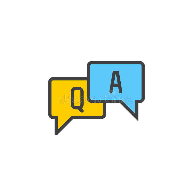 Fyllda FAQ, frågor och svar skisserar symbolen, linjen vektortecknet, linjär färgrik pictogram royaltyfri illustrationer