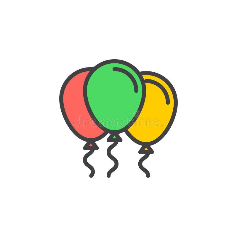 Fyllda partiballonger skisserar symbolen, linjen vektortecknet, linjär färgrik pictogram stock illustrationer