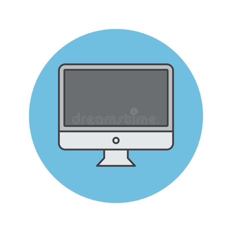 Fyllde den tunna linjen symbolen, lcd-skärm för den skrivbords- datoren översiktsvecto stock illustrationer