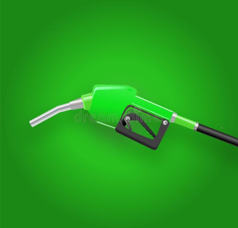 fyllnads- vapen framför den tanka dysan för gas, bensinpumpen 3d Bränslevektorillustration royaltyfri illustrationer