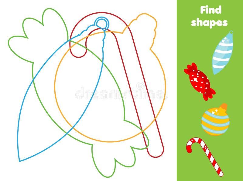 Fynd dolde objekt och former Bilda lek Temaaktivitet för jul och för nytt år för små barn och barn vektor illustrationer