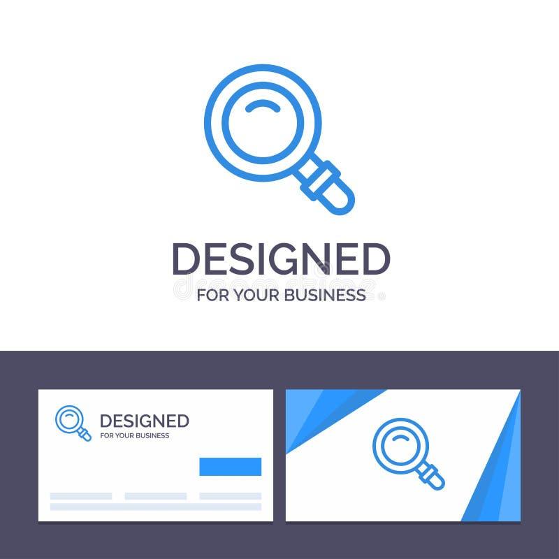 Fynd för idérik mall för affärskort och logo, sökande, sikt, exponeringsglasvektorillustration vektor illustrationer