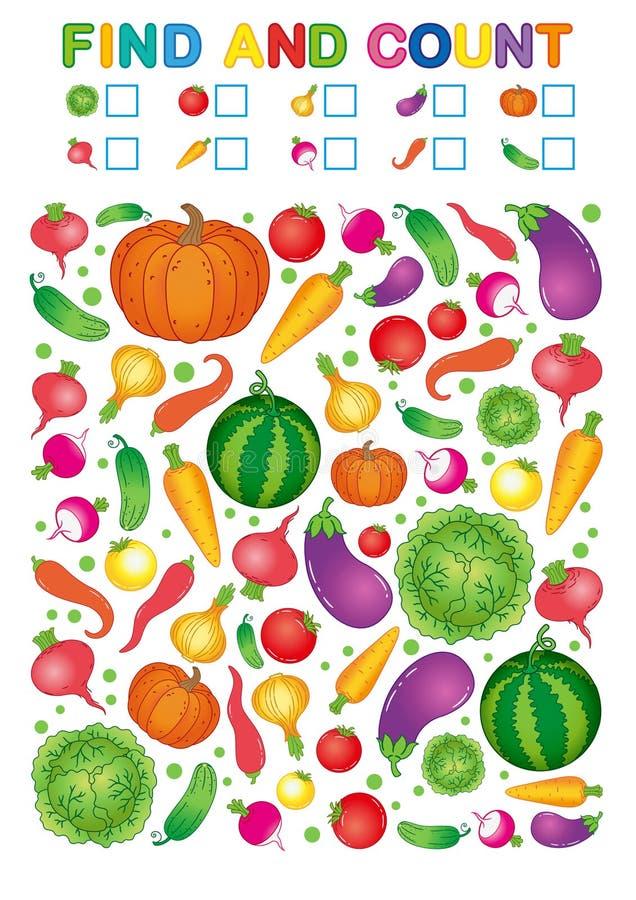 Fynd och räkning Tryckbar arbetssedel för dagis och förträning Övningar för studienummer Ljus pe för grönsakskördchili royaltyfri illustrationer