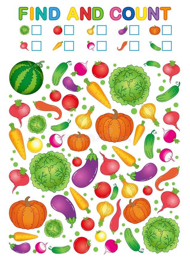 Fynd och räkning Tryckbar arbetssedel för dagis och förträning Övningar för studienummer Ljus pe för grönsakskördchili stock illustrationer