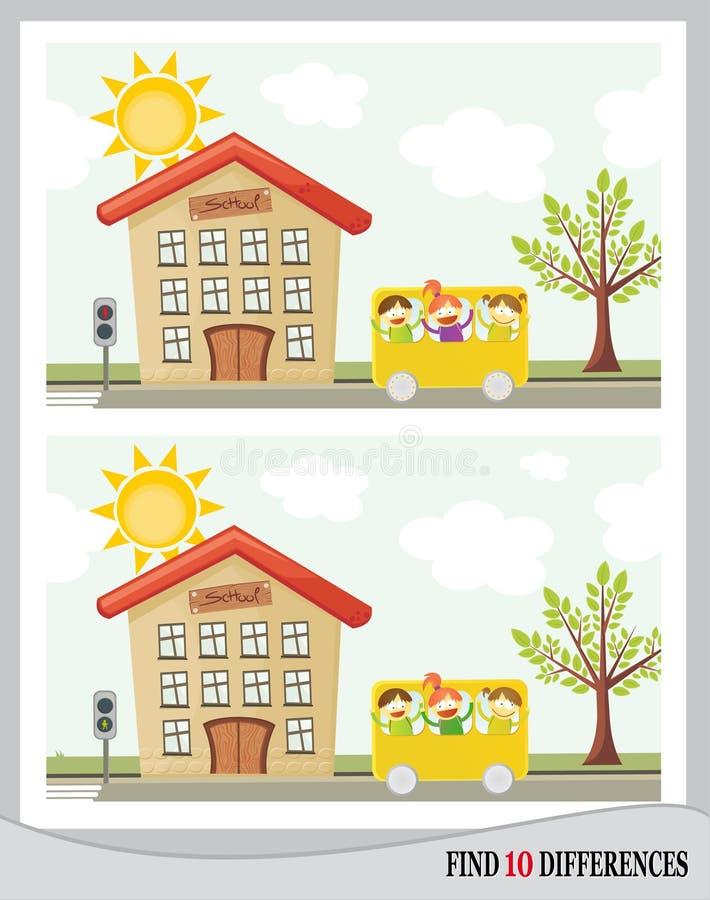 Fynd 10 skillnader - skola () stock illustrationer