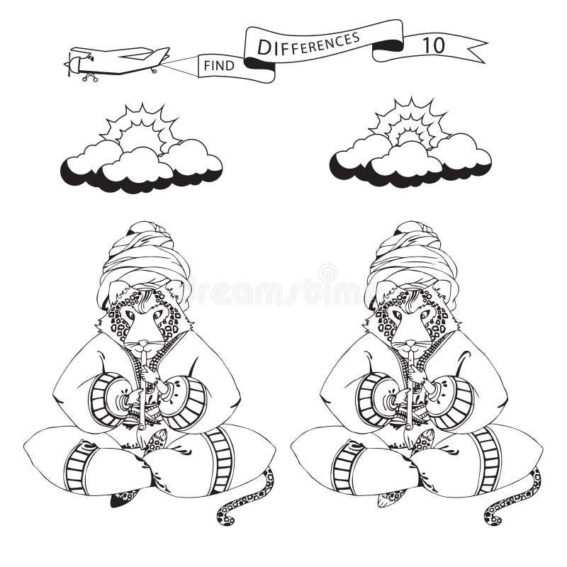 Fynd tio skillnader och färgläggningsida Rolig tecknad filmleopard P stock illustrationer