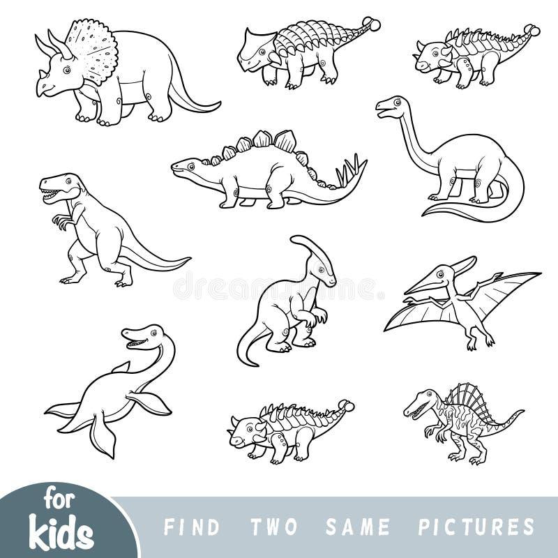 Fynd två de samma bilderna, utbildningslek inställda dinosaurs vektor illustrationer