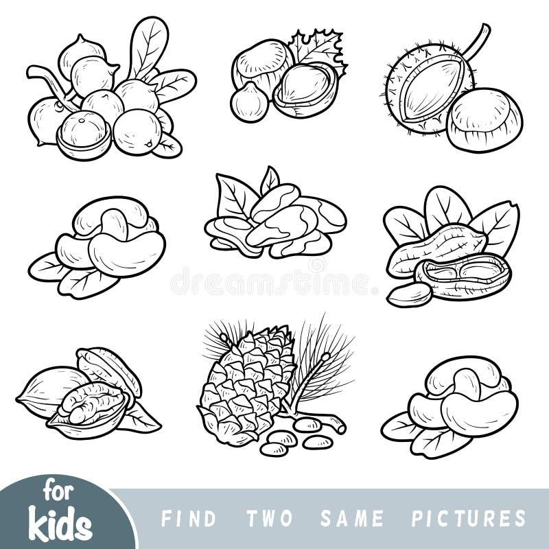 Fynd två de samma bilderna, utbildningslek Svartvit uppsättning av muttrar vektor illustrationer