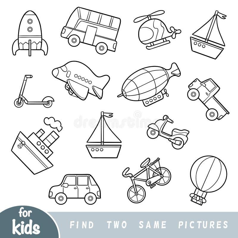 Fynd två de samma bilderna, utbildningslek Uppsättning av transportobjekt royaltyfri illustrationer
