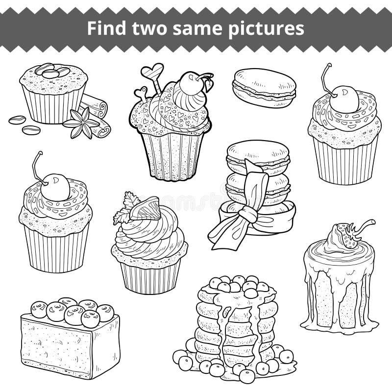 Fynd två samma bilder Akromatisk uppsättning för vektor av kakor vektor illustrationer