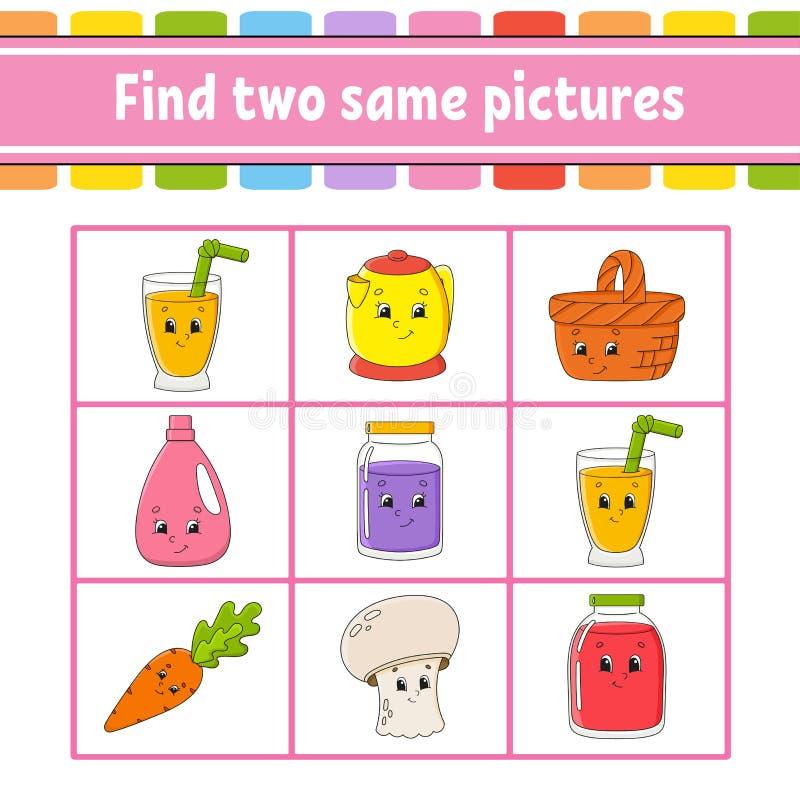 Fynd två samma bilder Uppgift för ungar Framkallande arbetssedel för utbildning Aktivitetssida Lek för barn Roligt tecken isolera vektor illustrationer