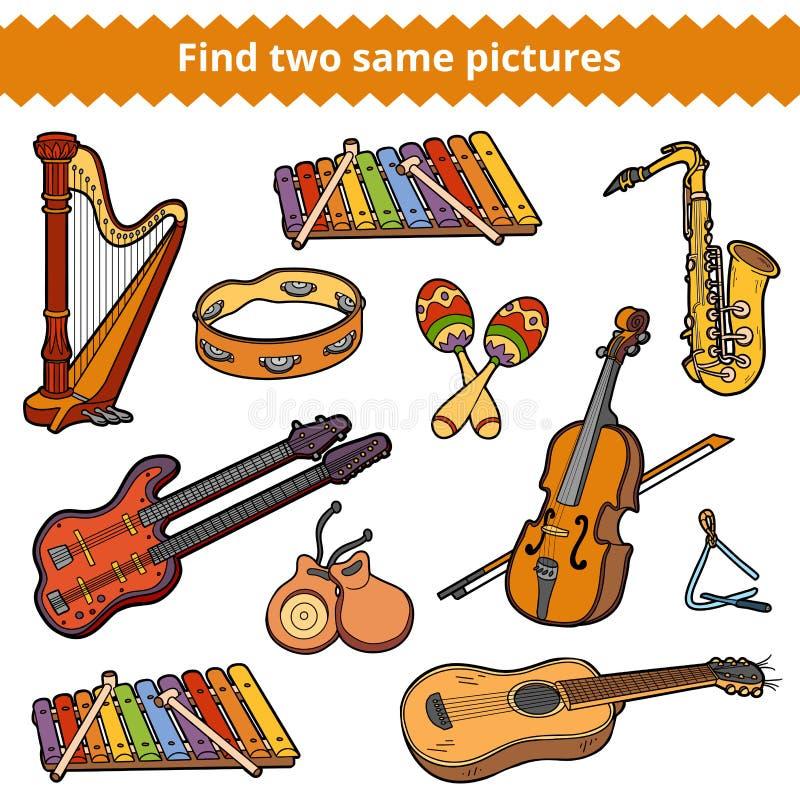Fynd två samma bilder Vektoruppsättning av musikinstrument stock illustrationer