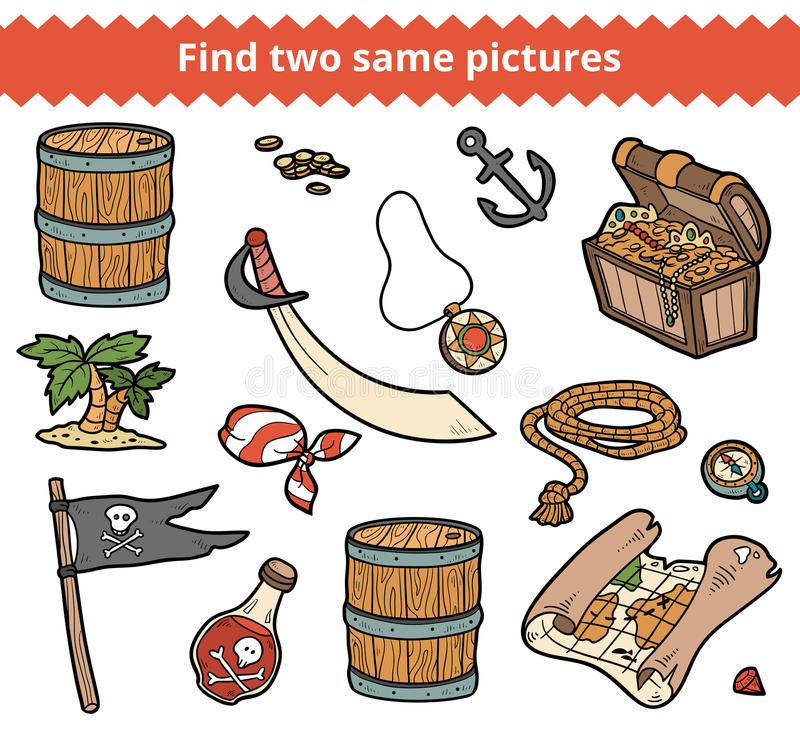 Fynd två samma bilder Vektoruppsättningen av piratkopierar objekt stock illustrationer