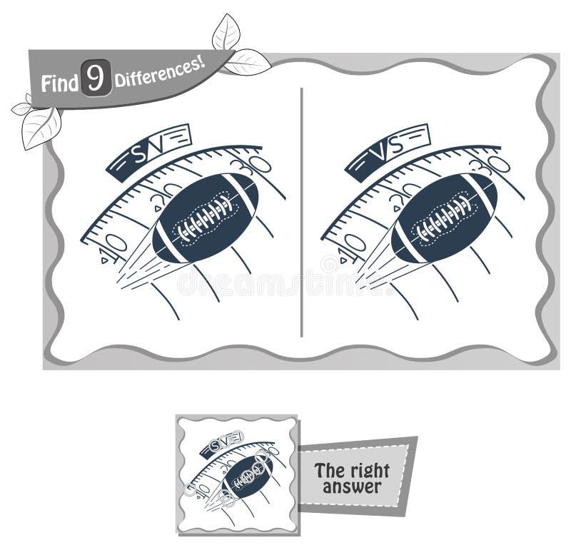 Fyndet 9 skillnader spelar rugby stock illustrationer