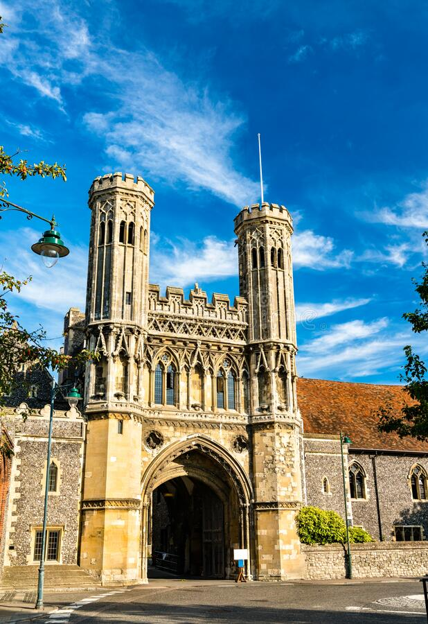 The Fyndon Gate of St. Augustine Abbey in Canterbury, England stock image
