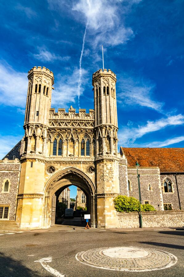 The Fyndon Gate of St. Augustine Abbey in Canterbury, England royalty free stock image
