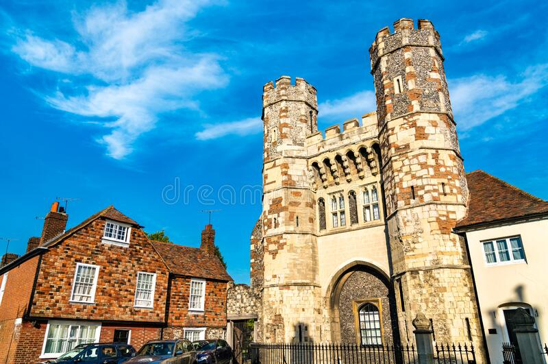 The Fyndon Gate of St. Augustine Abbey in Canterbury, England stock photos