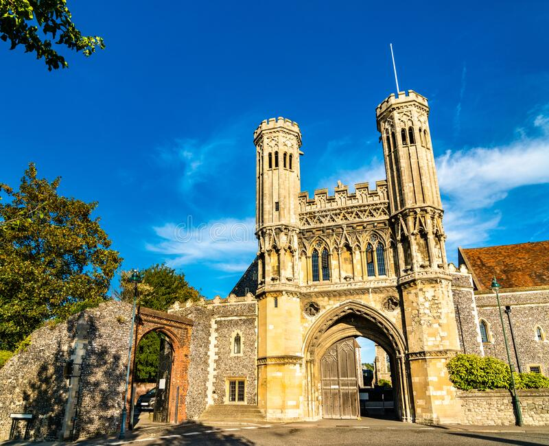 The Fyndon Gate of St. Augustine Abbey in Canterbury, England royalty free stock photography
