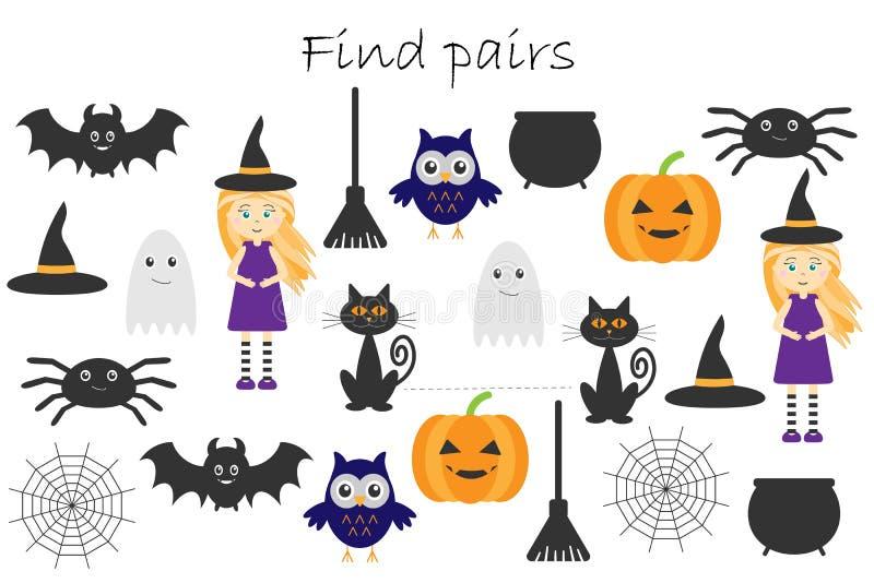 Fyndpar av identiska bilder, rolig utbildningslek med det halloween temat för barn, förskole- arbetssedelaktivitet för ungar, tas royaltyfri illustrationer