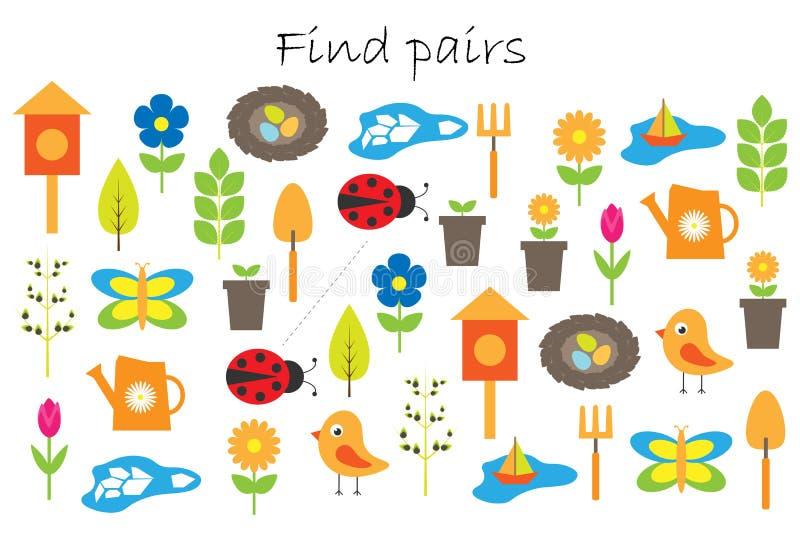 Fyndpar av identiska bilder, rolig utbildningslek med vårträdgårdtemat för barn, förskole- arbetssedelaktivitet för ungar royaltyfri illustrationer