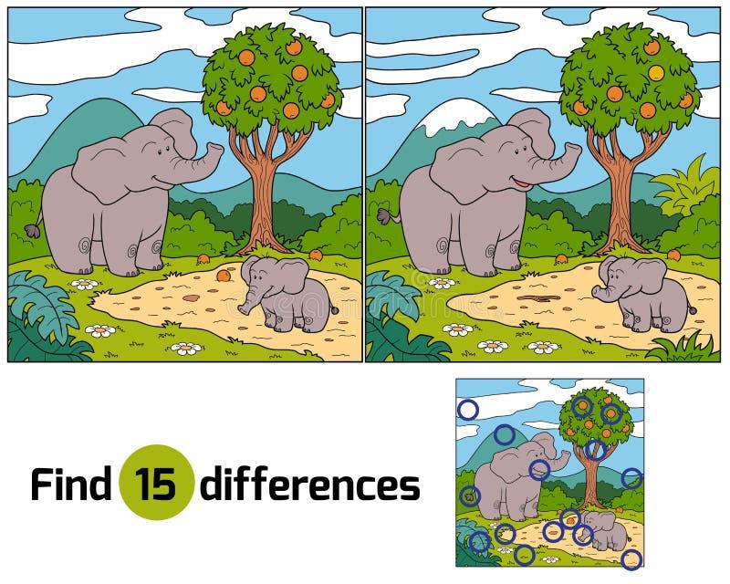 Fyndskillnader (elefanten) royaltyfri illustrationer