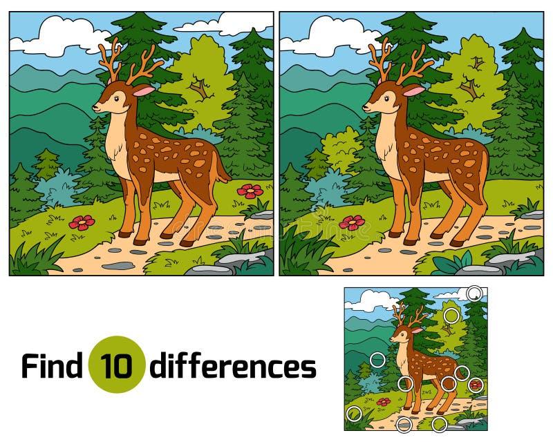 Fyndskillnader för barn (hjortar och bakgrund) vektor illustrationer