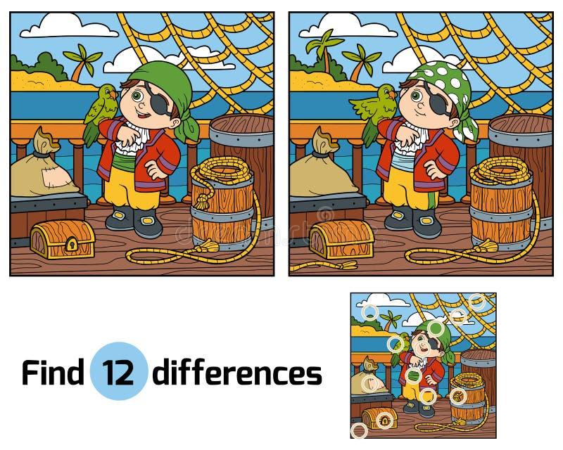 Fyndskillnader för barn Piratkopiera på däcket av ett skepp vektor illustrationer