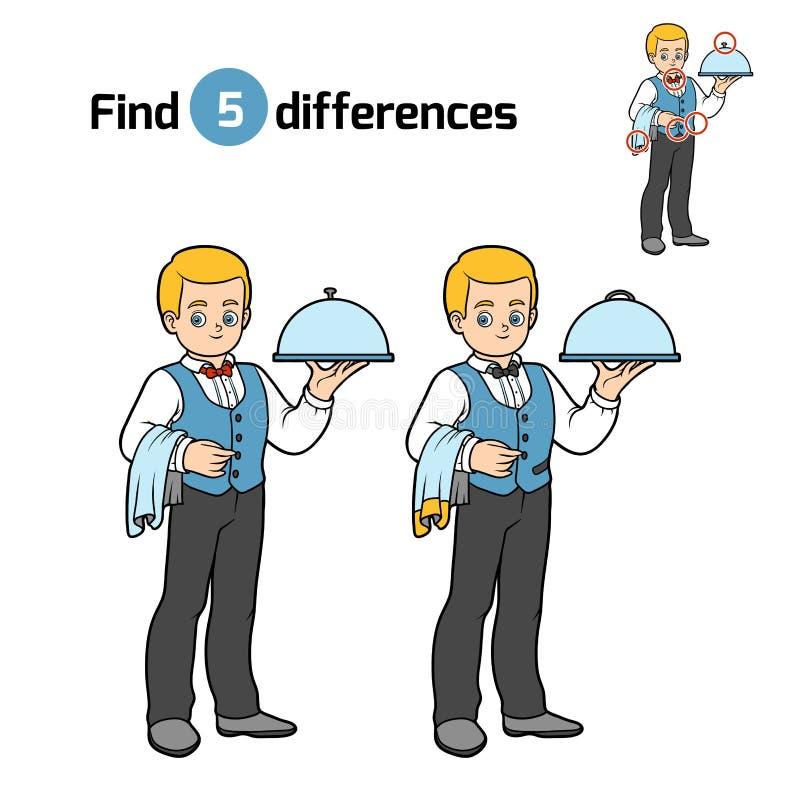 Fyndskillnader, uppassare vektor illustrationer