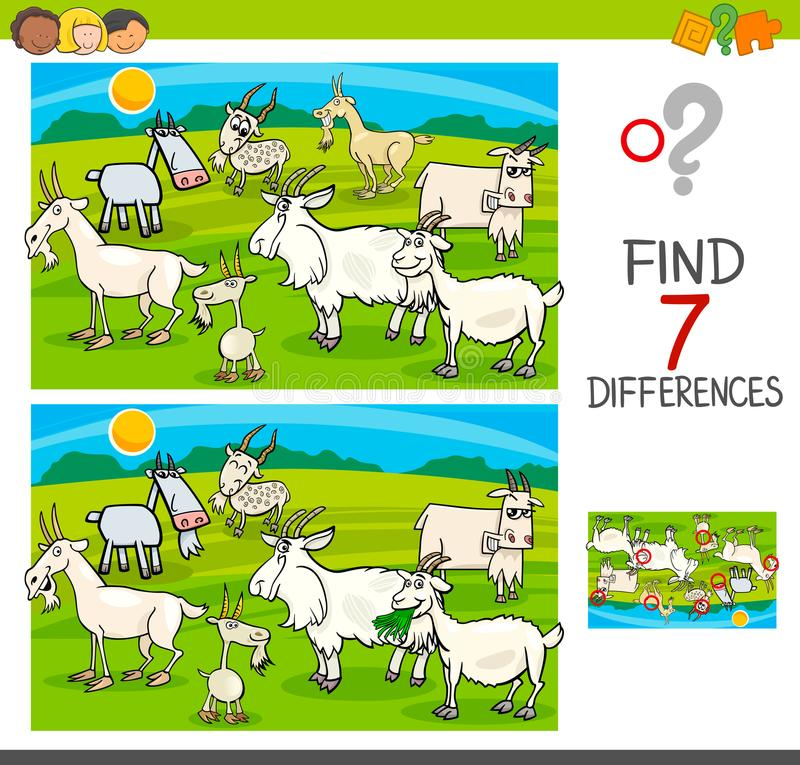 Fyndskillnadlek med getdjurtecken vektor illustrationer