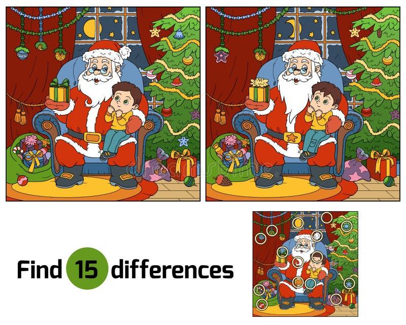 Fyndskillnadlek: Santa Claus ger en pojke för gåva lite vektor illustrationer