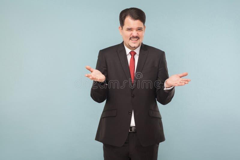 Fynny achteloze zakenman die bij camera glimlachen stock afbeelding